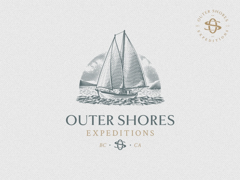 Outer Shores Expeditions vessel scratchboard etching vintage monogram adventure expedition nature sea schooner boat ship