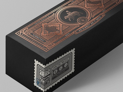 TB&TB Box Packaging Detail roasters coffee etching label mockup copper foil packaging box