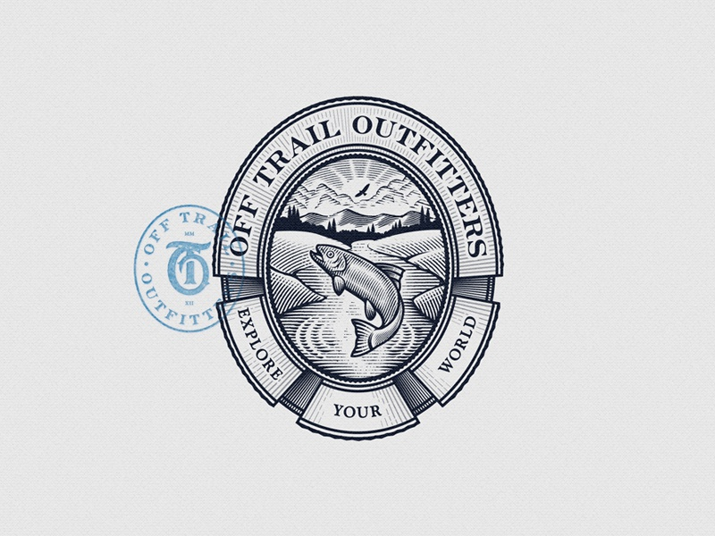 Off Trail Outfitters Emblem emblem hunting fishing vintage outdoors lake river fish nature seal