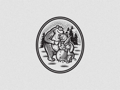 Best Friends illustration retro vintage snow love coffee christmas winter bear snowman