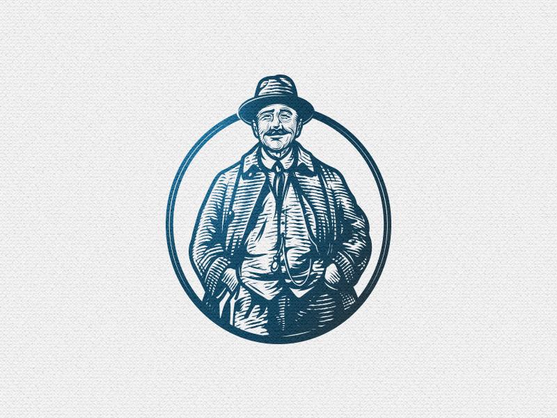 John Nagle etching crest emblem vintage retro oldman man illustration