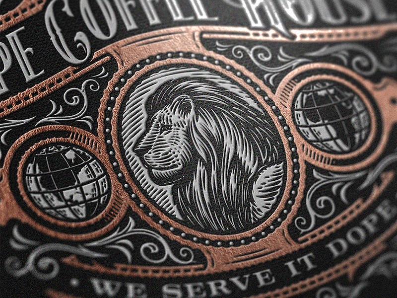 DCH Close up mockup close up print foil retro lion vintage emblem coffee roastery