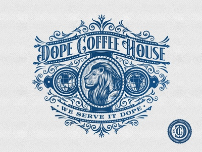 Dope Coffee House Co dc monogram roasters retro vintage seal emblem lion cafe coffee