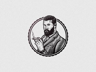 Villiger suit hipster gentleman crosshatch vintage illustration smoke cigar cigars villiger