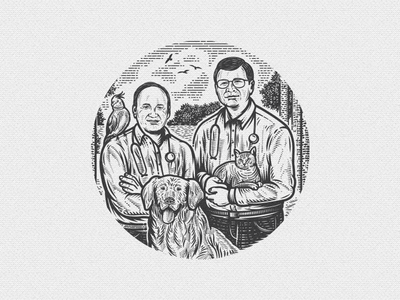 Dr's Foster & Smith retro illustration vintage forest parrot landscape bird cat dog pet doctor