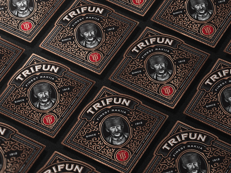 Trifun Close Up Labels brandy spirits packaging packaging design illustration whiskey craft distilling bourbon