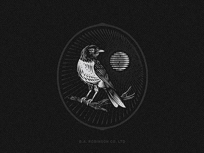 BA Robinson vector design etching logo emblem illustration vintage retro sun bird