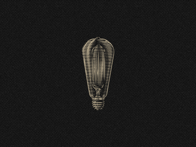 Edison's bulb edison scratchboard illustrator illustration lightning etching vintage retro light bulb icon