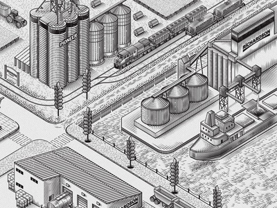 Richardson Pioneer grain wheat vintage warehouse editorial ship agriculture farming truck facility industrial isometric illustration vector richardson pioneer