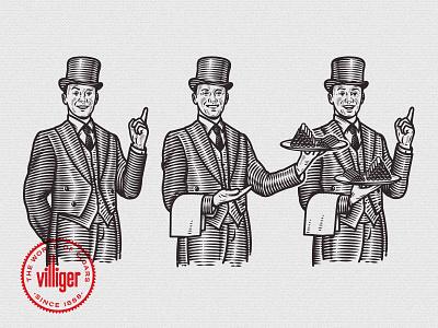 Villiger Cigar Butler butler vintage cigar character vector illustration tobacco barmen