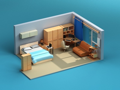 My Home 1/4 bed home clean c4d