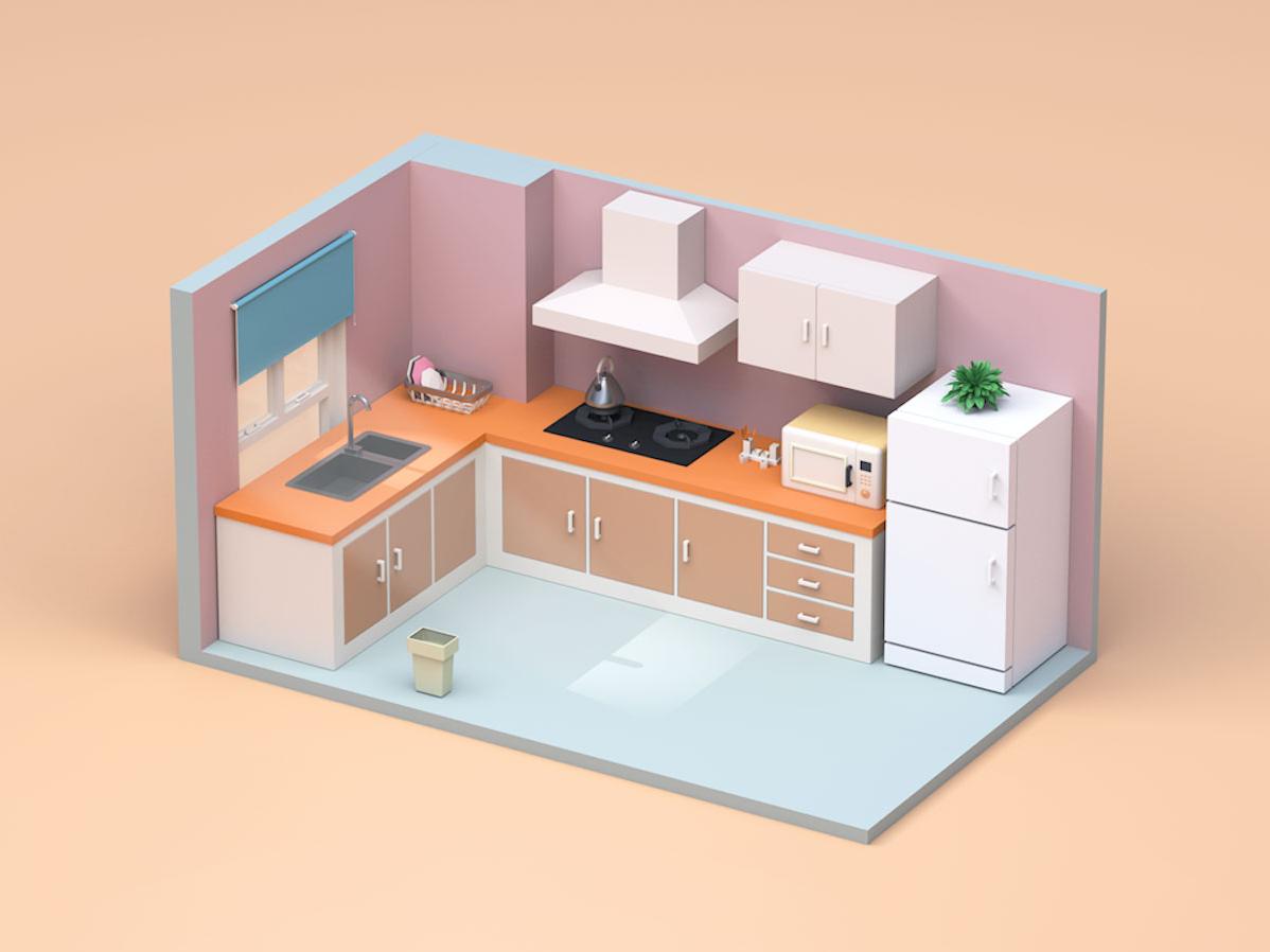 My Home 3/4 product product design product-design room 3d kitchen home c4d