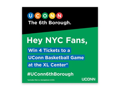#UConn6thBorough Social Media  color blocking uconn