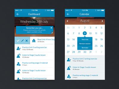 iOS 7 University App app university study plan calendar pitch blue white ios7 ios popup slide