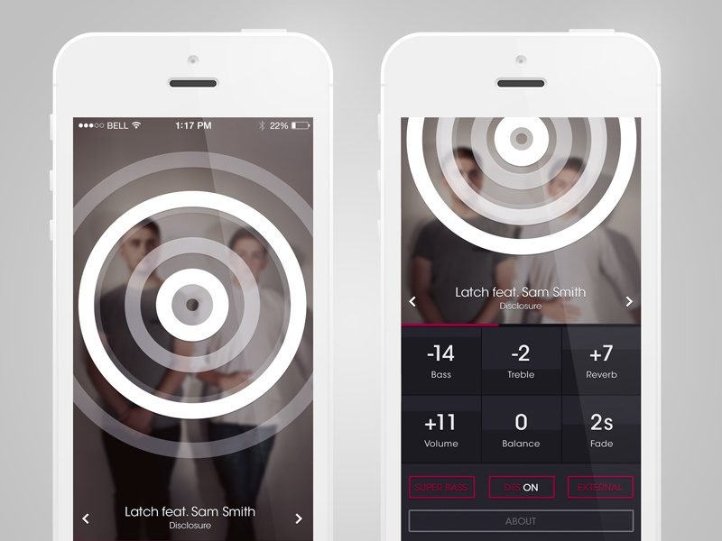 Music Visualiser app ios visualiser red dark ui ux iphone ios7 music