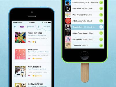 Songsicle app ui ux ios ios 7 iphone presentation 5c psd