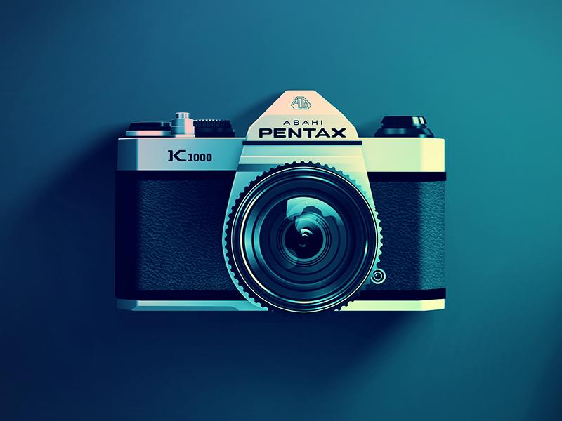 Pentax K1000 photoshop gradient illustration sketch real shadow lens 3d skeuomorphic film pentax camera