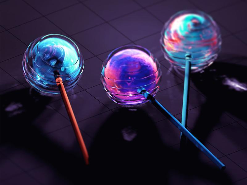 Marble Lollipops sweets candy glow photoshop realism skeuomorphic shine marble lollipop 3d cinema 4d