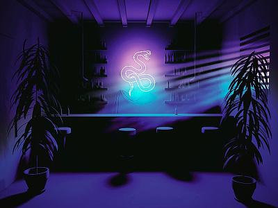 Snake Bar plant snake night bar dark glow 80s eighties neon 3d cgi cinema 4d