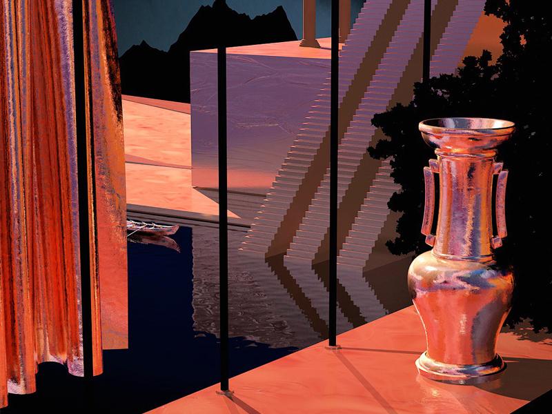 Synthetic Moon dystopia scene surreal cgi orange gold cinema 4d 3d c4d