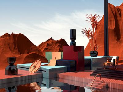 Timing Is Everything surreal sculpture desert pool render cgi 3d cinema 4d