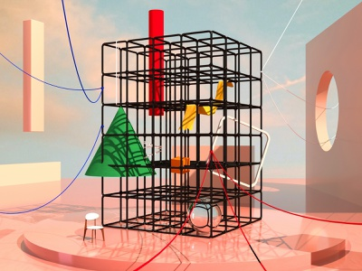 Using a 3D Grid strings surreal shapes cubes grid corona render 3d cinema 4d