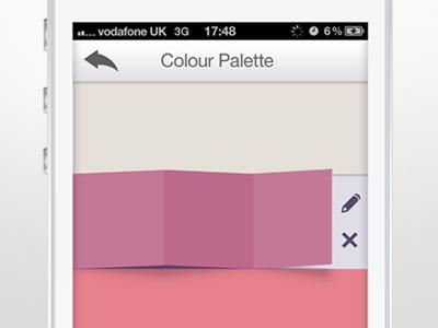 Colour Palette Slide iOS App app iphone ui application slide fold photoshop mobile design ux hidden pink yellow pencil cross delete back colour color palette folding