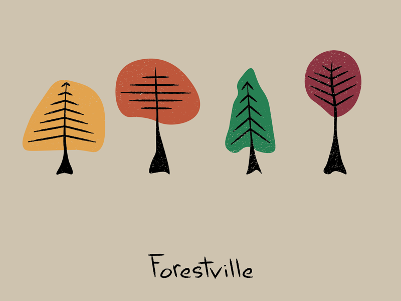 Forestville abstract minimal poster trees