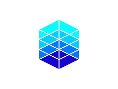 Box + Server Rack + Pentagon type flat vector typography logotype identity branding brand symbol icon logo design logo