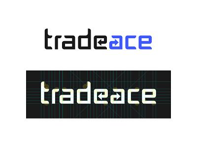 Tradeace Logo finance word trade trading wordmark design icon blue black vector symbol brand flat type logotype typography identity logo logo design branding