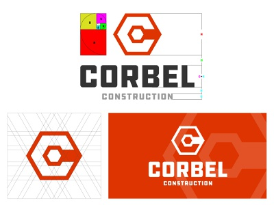 Corbel Construction building builder powerful power strong bold bolt nut construction logo construction identity typography type icon flat symbol logo design logo hustle coffee
