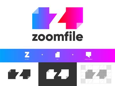 Zoom File design vector z negative space brand symbol icon flat typography icon hustle coffee communications communication file sharing file symbol identity branding logo design logo