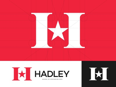 Hadley School of Performing Arts dancing dance famous fame arts art theatre theater school talent music movies singing acting monogram star icon symbol logo design logo