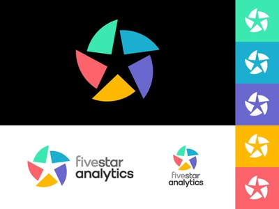Five Star Analytics logotype typography pie charts charts chart segments colour analytics analytic data stars star pie chart type identity branding icon symbol logo design logo