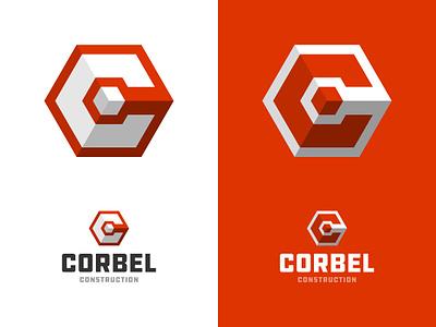 Corbel Construction logo designer 2d build industrial hustle coffee building hexagon construction logo construction cubes bolt box 3d cube illusion icon symbol logo design logo