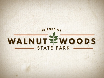 Walnut Woods natural clean earthtones leaf park logo