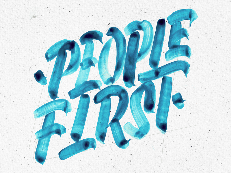 People First sofia typography bulgaria texture studio four plus ivaylo nedkov custom lettering custom type first people cards value watercolor brush aquarell lettering custom