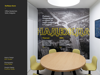 Raiffeisen Bank - Office Nadezhda ivaylo nedkov space office interior bank bulgaria sofia drone photography type typography graphic design interiordesign