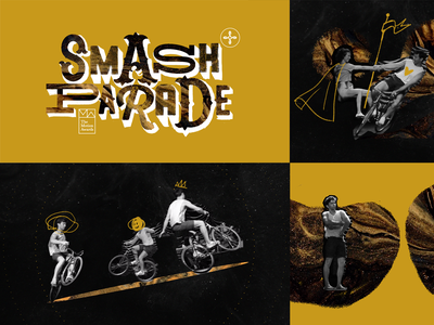 Smash Parade show dance acrobatics circus parade smash space exploration cut and paste doodles bike typography collage motion motion design style frames