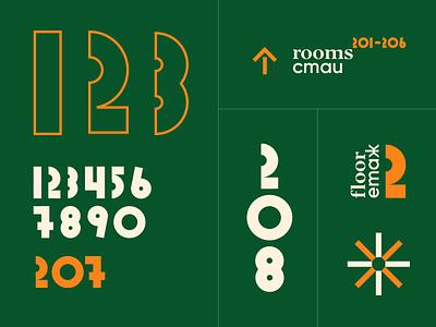 cota1110 numbers grid interior custom branding system signage navigation typography numbers