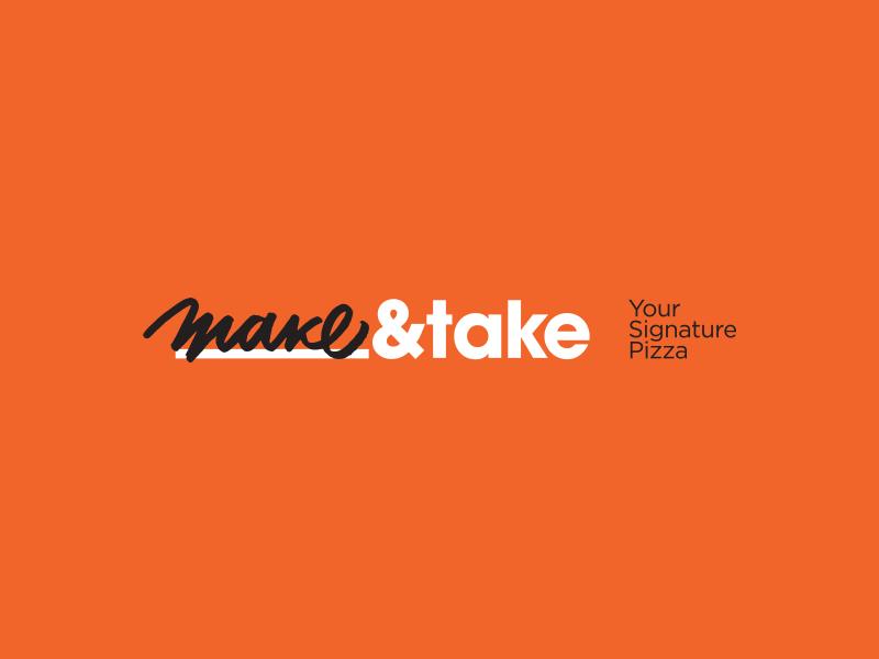 Make&Take Pizza bulgaria four plus ivaylo nedkov logotype calligraphy logo pizza take make