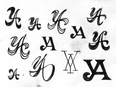 YA monogram exlploration progress four plus lettering bulgaria monogram sketch typography logo ivaylo nedkov