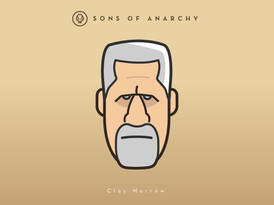 Faces Collection Vol. 01  - Sons of Anarchy - Clay Morrow head 2d logo vector illustration ron perlman character tv series samcro clay anarchy sons