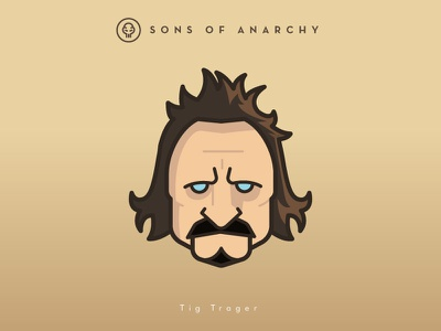 Faces Collection Vol. 01 - Sons of Anarchy - Tig Trager head logo 2d vector illustration tv series sons samcro jax character anarchy