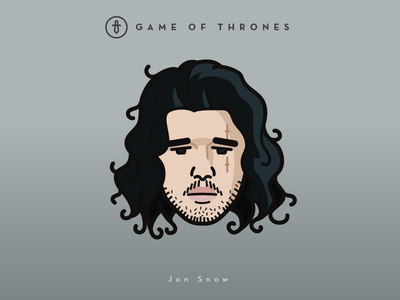 Faces Collection Vol. 02 - Game of Thrones - Jon Snow snow 2d 3d logo tv series vector jon snow king  lannister illustration icon game of thrones dragon