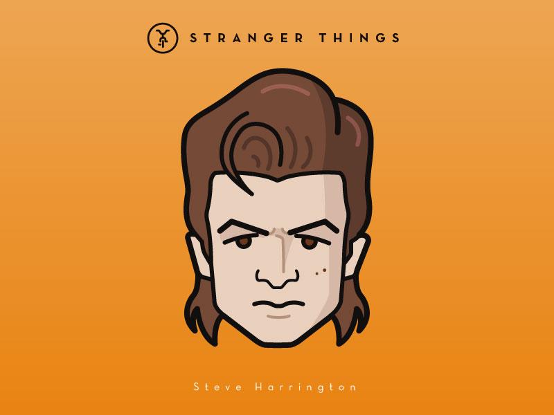 Faces Collection Vol. 03 - Stranger Things - Steve Harrington vector tv serie things stranger portrait netflix movie logo illustration icon flat characters