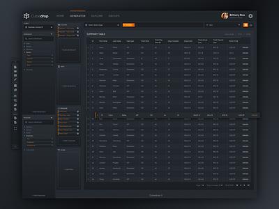 Data Analysis Platform - Generator 1 (Dark Theme) reporting analytics data dark ux ui