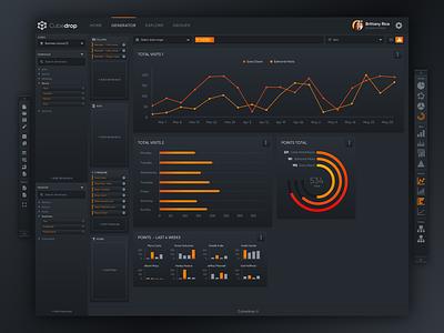 Data Analysis Platform - Generator 2 (Dark Theme) data dark ux ui diagrams charts statistics anaytlics reporting