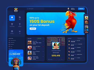 Online Casino - Dashboard parrot entertainment online casino game dark ux blue ui design