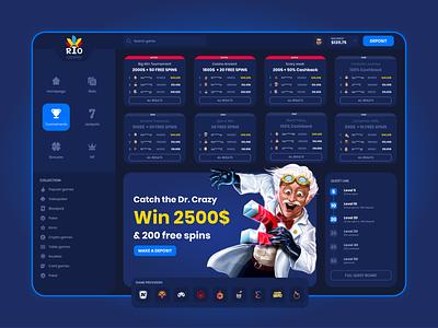 Online Casino - Tournaments tournaments games online casino game dark blue design ux ui